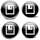 vector set of four black icon buttons Stock Image