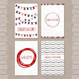 Vector set of four cards with hand drawn sketch elements. Good f Stock Photography