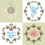 Vector set: Four Christmas card. With Christmas decorations Royalty Free Stock Photos