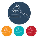 Vector set of four colorful court hammer icons Stock Image