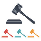 Vector set of four colorful court hammer icons Stock Photography