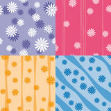 Vector set of four colorful seamless patterns. With floral texture  blue, pink, yellow, lavender Royalty Free Stock Image
