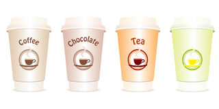 Vector set of four cups to go Royalty Free Stock Photography