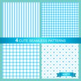 Vector set of four cute blue seamless patterns Royalty Free Stock Photos