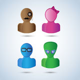 Set of four different faces. Stock Photography