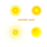 Vector set of four different suns. Royalty Free Stock Photos