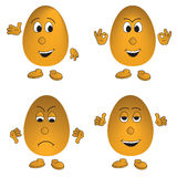 Vector set of four eggs (smiley) Royalty Free Stock Photos