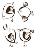 Vector set of four graphic cartoon birds on white Stock Photos