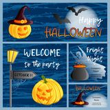 Vector set of four Halloween banners and cards Royalty Free Stock Photo