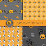 Vector set of four Halloween seamless patterns Stock Photography