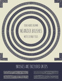 Vector set of four hand drawn meander brushes Stock Images