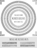 Vector set of four hand drawn meander brushes Royalty Free Stock Photos