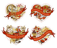 Vector set of four hearts for your design. Royalty Free Stock Photo