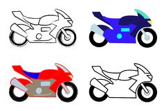 Vector set of four high speed motorcycles royalty free stock images