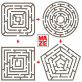 Vector Set. Four Isolated Maze Elements Royalty Free Stock Photos