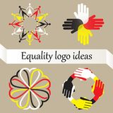Vector set of four logos with equality, world peace and racial diversity idea. Concept against racism and discrimination. People, hands and hearts of different royalty free illustration