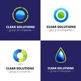 Vector set of four minimalistic abstract water logotypes. Ecological logos Stock Photography