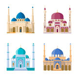 Vector set of four mosques. Arabic religion buildings. Cartoon illustrations set isolate on white background Royalty Free Stock Photos