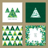 Vector Set of four New Year greeting card templates in hipster style. Stylized Christmas tree of green triangles Stock Images
