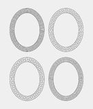 Vector set of four oval meander frames. Royalty Free Stock Photos