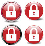 Vector set of four red website buttons Royalty Free Stock Photo