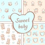 Vector set of four seamless baby boy patterns. Background for happy birthday or invitation card. Vector set of four seamless baby boy patterns. Background for
