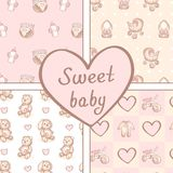 Vector set of four seamless baby girl patterns. Background for happy birthday or invitation card. Vector set of four seamless baby girl patterns. Background for
