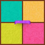 Vector set of four seamless hand-drawn pattern, waves background Royalty Free Stock Images