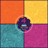 vector set of four seamless hand-drawn pattern, waves background Royalty Free Stock Photography