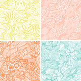 vector set of four seamless hand-drawn pattern, waves background Royalty Free Stock Image
