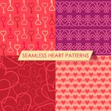 Vector set of four seamless heart patterns. Collection with red, pink, yellow and violet tones. Can be used as a background for birthday or Valentine's Day Royalty Free Stock Photos