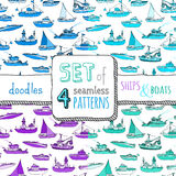 Vector set of four seamless marine patterns. Stock Photography