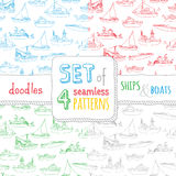 Vector set of four seamless nautical patterns. Stock Image