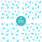 Vector. Set of four seamless pattern Christmas. Vector illustration. Set of four seamless pattern Christmas celebratory winter with bird, snowflakes, snowmen Royalty Free Stock Images
