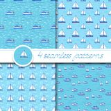 Vector set of four seamless patterns with ship. Vector set of four seamless patterns with ships: bulk carrier, yacht, sailboat Royalty Free Stock Photo