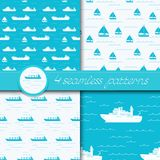 Vector set of four seamless patterns with ships. Vector set of four seamless patterns with ships: bulk carrier, dry cargo ship, yacht, sailboat Royalty Free Stock Image