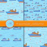 Vector set of four seamless patterns with ships. Vector set of four seamless patterns with ships: tanker, bulk carrier, dry cargo ship, icebreaker, trawler Stock Photos