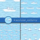 Vector set of four seamless patterns with ships. Vector set of four seamless patterns with ships: tanker, bulk carrier, dry cargo ship, icebreaker, trawler Royalty Free Stock Photos