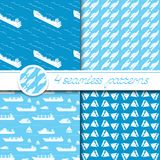 Vector set of four seamless patterns with ships. Vector set of four seamless patterns with ships: bulk carrier, dry cargo ship, yacht, sailboat Royalty Free Stock Photography