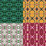 A vector set of four seamless repeating geometric floral and circle patterns stock illustration