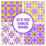 Vector set of four seamless vintage patterns. Royalty Free Stock Photos