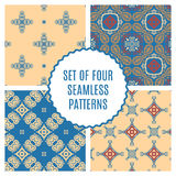 Vector set of four seamless vintage patterns. Stock Images