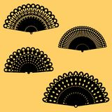 A collection of four delicate open fans vector illustration