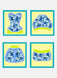 Vector Set of four simple different woman wear fashion square icons. Light yellow background featuring beach women wear items. Vector Set of four simple Stock Images