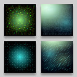 Vector set of four technological geometric templates for cards. Royalty Free Stock Photos