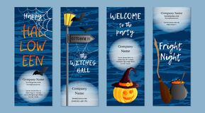 Vector set of four vertical banners. Halloween theme. Traditional holiday symbol Jack o lantern, witch hat, broom. Cauldron, bat, web. Abstract blots Stock Photo