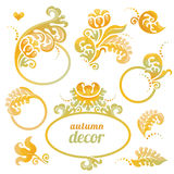 Vector set of frame in Victorian style. Vector set of bright frame in Victorian style. Ornate element for design. Concept autumn decor. Place for company name Stock Images