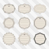 Vector set of frame vintage labels for the signature of notebooks and textbooks. Back to school - vector set of frame labels. Stock Photos