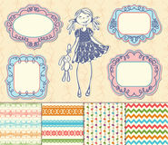 Vector set frames and backgrounds baby girl Royalty Free Stock Photo