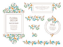 Vector set frames and vignette in Eastern style. Vector set frames and vignette for design template. Vintage element in Eastern style. Outline floral Royalty Free Stock Image